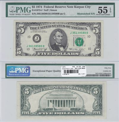 1974. $5. PMG. AU-55. EPQ. Federal Reserve Note.