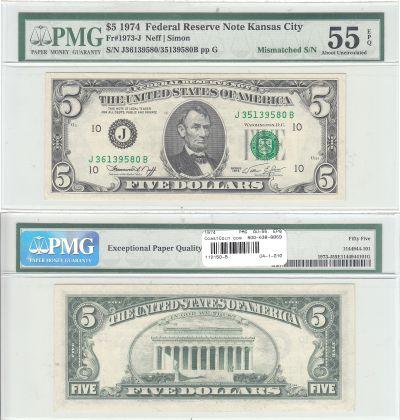 1974. $5. PMG. AU-55. EPQ. Federal Reserve Note.