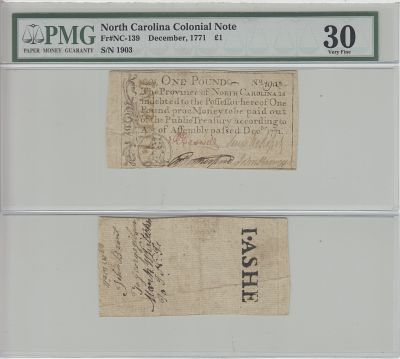 12/1771. NC. One Pound. PMG. VF-30.