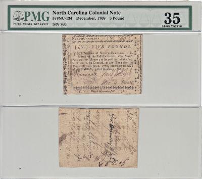 12/1768. NC. Five Pounds. PMG. Ch VF-35.