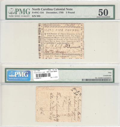 12/1768. NC. Five Pounds. PMG. AU-50.
