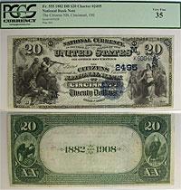 1882. $20. PCGS. VF-35. OH. Cincinnati. Charter 24
