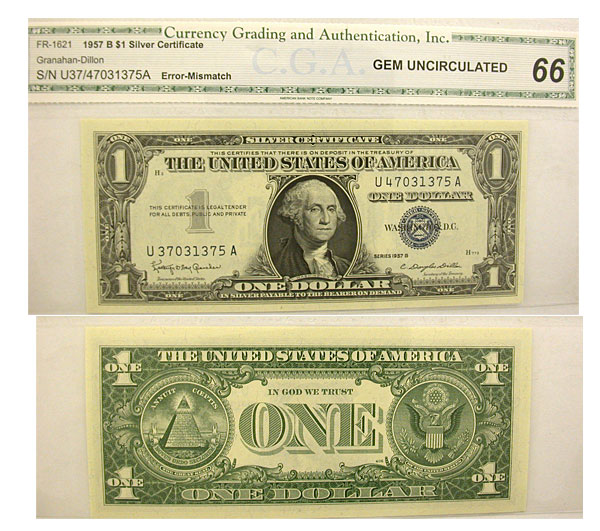 119152- 1957-B. $1. CU. Silver Certificate.