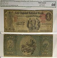 1875. $1. VG. MA. Boston. Charter 603.