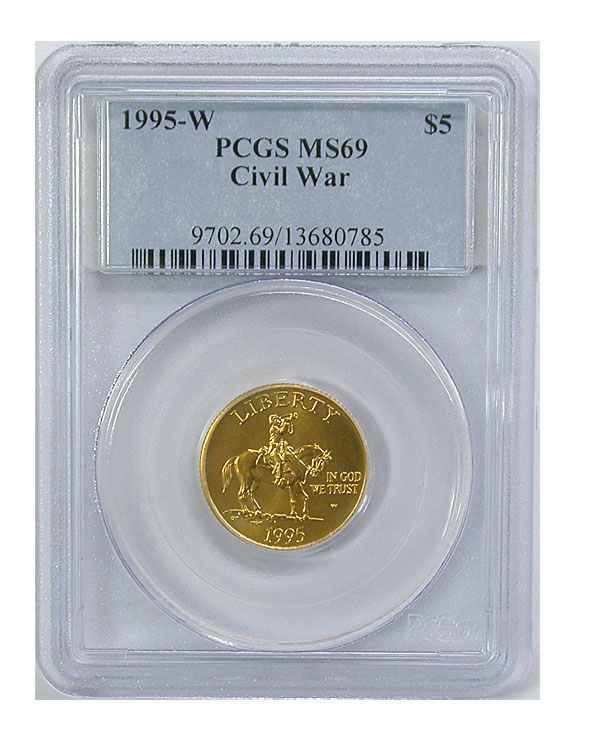 119682- 1995-W. PCGS. MS-69. Civil War $5.
