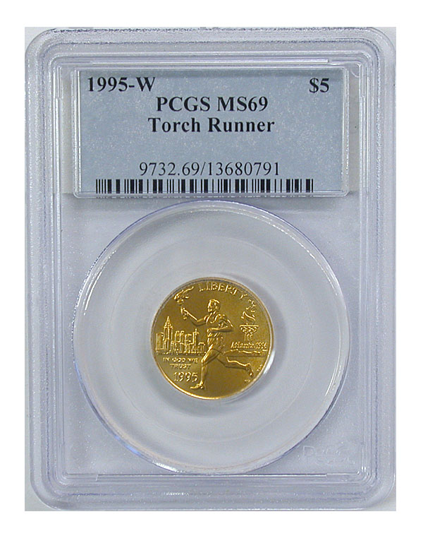 119932- 1995-W. PCGS. MS-69. Torch Runner $5.