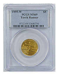 1995-W. PCGS. MS-69. Torch Runner $5.
