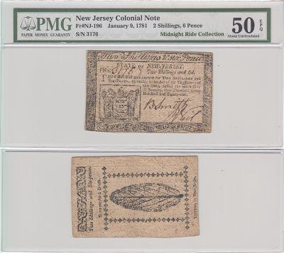 1/9/1781. NJ. Two Shillings Six Pence. PMG. AU-50.