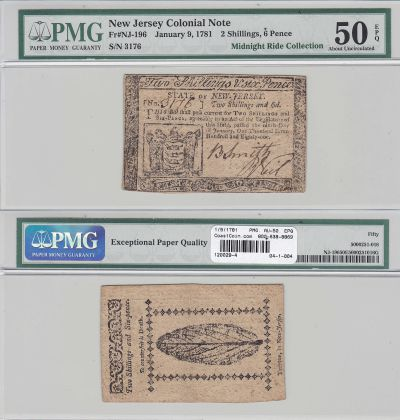 1/9/1781. NJ. Two Shillings Six Pence. PMG. AU-50.