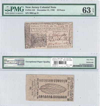 12/31/1763. NJ. Eighteen Pence. PMG. Ch Unc-63. EP