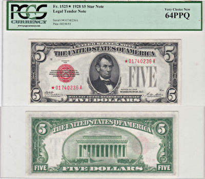 1928*. $5. F-1525*. PCGS. Very Ch-64. PPQ. Legal T