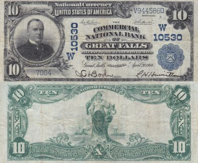 1902. $10. FINE. MT. Great Falls. Charter 10530.