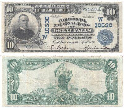 1902. $10. FINE. MT. Great Falls. Charter 10530.