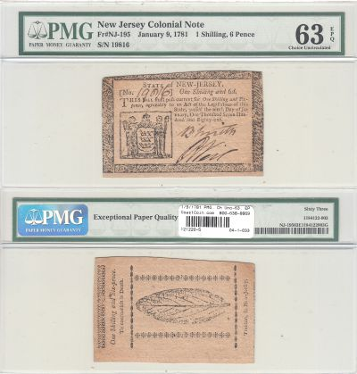 1/9/1781. NJ. One Shilling Six Pence. PMG. Ch Unc-