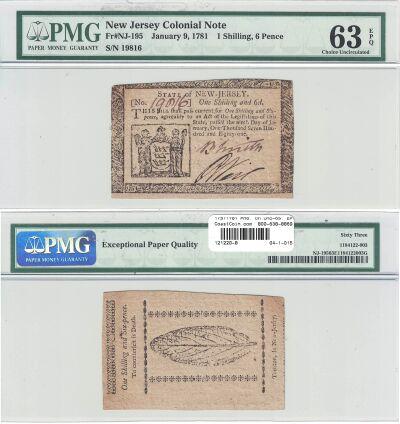 1/9/1781. NJ. One Shilling Six Pence. PMG. Ch Unc-