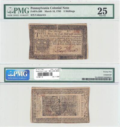 3/16/1785. PA. Five Shillings. PMG. VF-25.
