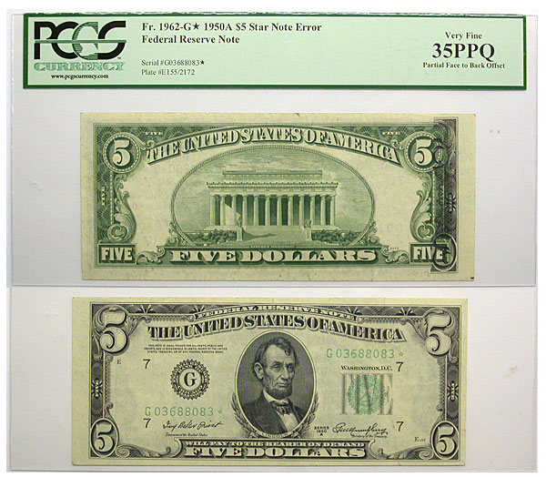 121184- 1950-A*. $5. PCGS. VF-35. PPQ. Federal Reserve Note.