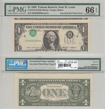 1985. $1. PMG. Gem-66. EPQ. Federal Reserve Note.