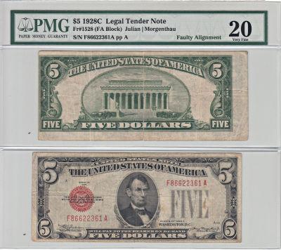 1928-C. $5. PMG. VF-20. Legal Tender Note.