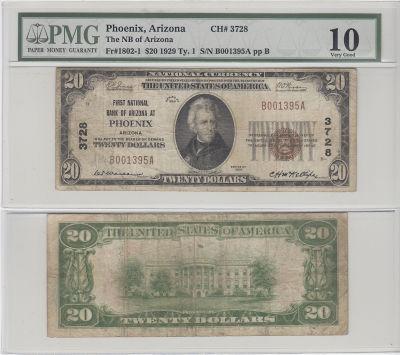 1929. $20. PMG. VG-10. AZ. Phoenix. Charter 3728.