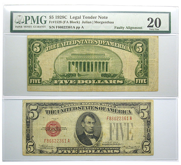 122597- 1928-C. $5. PMG. VF-20. Legal Tender Note.