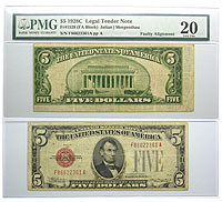 1928-C. $5. PMG. VF-20. Legal Tender Note.