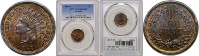 1864 Bronze. PCGS. MS-64. RB.
