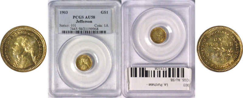 123108- 1903. PCGS. AU-58. La. Purchase - Jefferson $1.