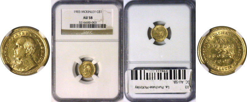 123111- 1903. NGC. AU-58. La. Purchase - McKinley $1.