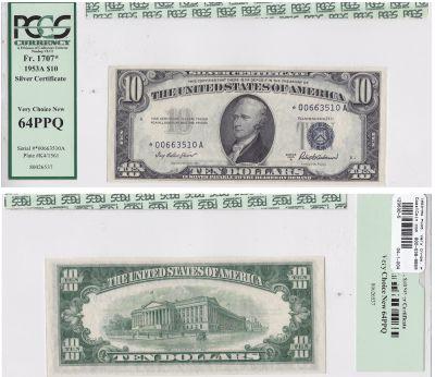 1953-A*. $10. F-1707*. PCGS. Very Ch-64. PPQ. Silv