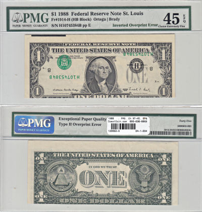 1988. $1. PMG. Ch XF-45. EPQ. Federal Reserve Note