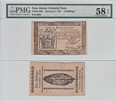 1/9/1781. NJ. Five Shillings. PMG. Ch AU-58. EPQ.