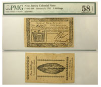 1/9/1781. NJ. Five Shillings. PMG. Ch AU-58. EPQ.