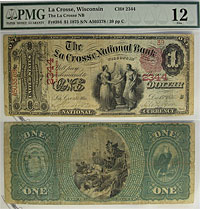 1875. $1. PMG. F-12. WI. LaCrosse. Charter 2344.