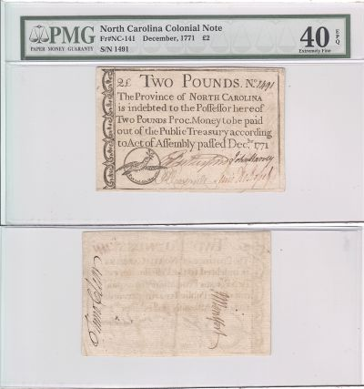 12/1771. NC. Two Pounds. PMG. XF-40. EPQ.