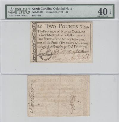 12/1771. NC. Two Pounds. PMG. XF-40. EPQ.