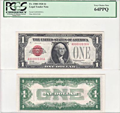 1928. $1. PCGS. Very Ch-64. PPQ. Legal Tender Note