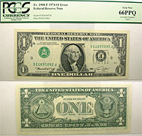 1974. $1. PCGS. Gem-66. PPQ. Federal Reserve Note.