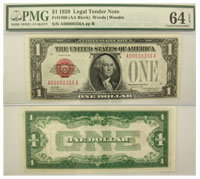 1928. $1. PMG. Ch Unc-64. EPQ. Legal Tender Note.