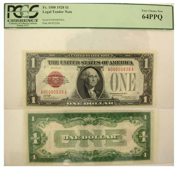 126147- 1928. $1. PCGS. Very Ch-64. PPQ. Legal Tender Note.