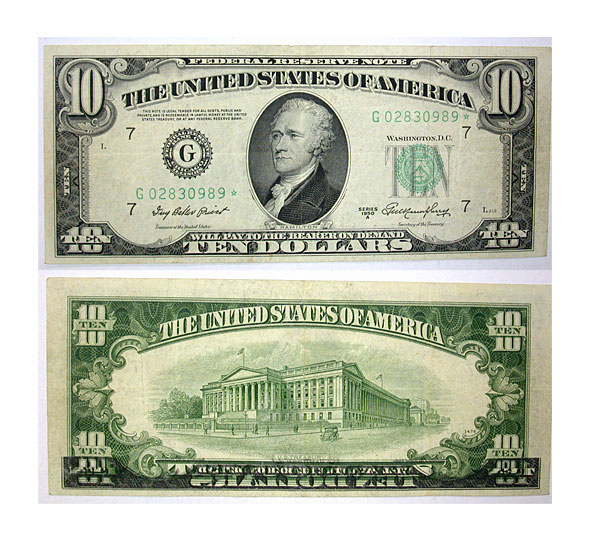 126185- 1950-A*. $10. VF. Federal Reserve Note.