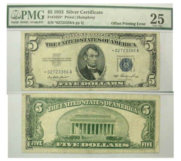 126192- 1953*. $5. PMG. VF-25. Silver Certificate.