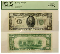1928. $20. PCGS. Gem-65. PPQ. Federal Reserve Note