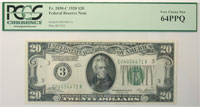 1928. $20. PCGS. Very Ch-64. PPQ. Federal Reserve