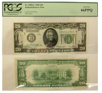 1928. $20. PCGS. Gem-66. PPQ. Federal Reserve Note