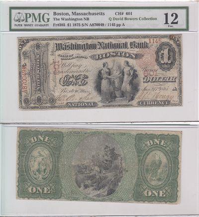 1875. $1. PMG. F-12. MA. Boston. Charter 601.