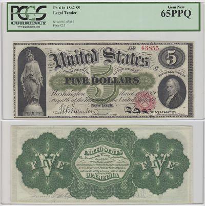 1862. $5. F-61a. PCGS. Gem-65. PPQ. LTN.