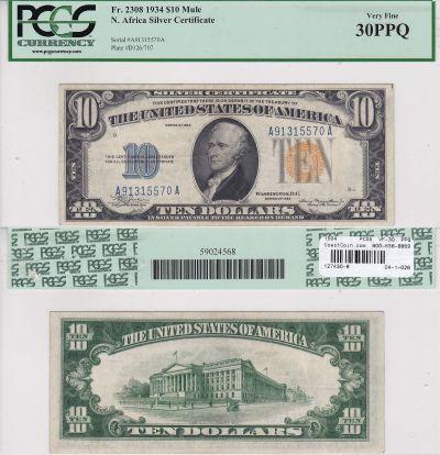 1934. $10. F-2308m. PCGS. VF-30. PPQ. North Africa