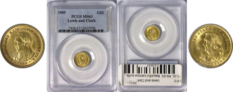 127637- 1905. PCGS. MS-63. Lewis and Clark $1.