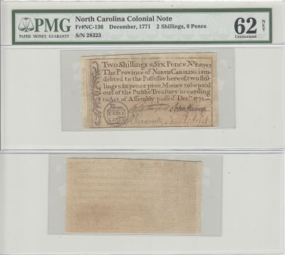 12/1771. NC. Two Shillings Six Pence. PMG. Unc-62.
